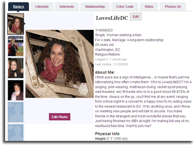 Online dating profile for a woman in Australia